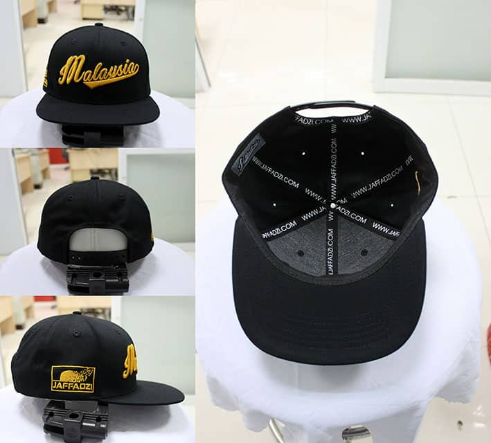 Sample snapback cap with gold embroidery