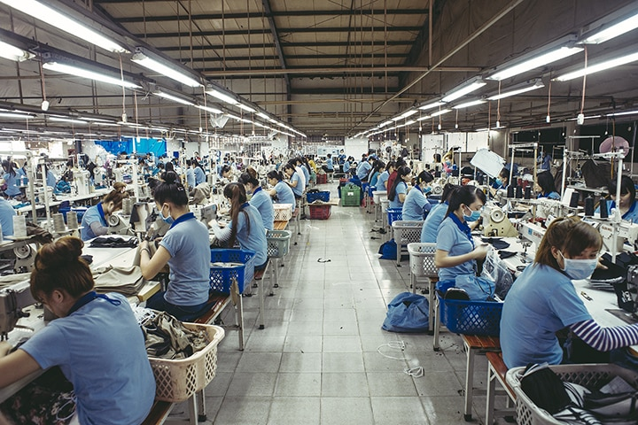 Workers in a factory in Vietnam