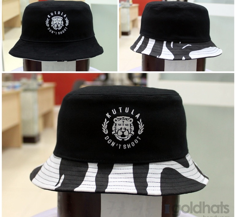 Printed and embroidered bucket hat