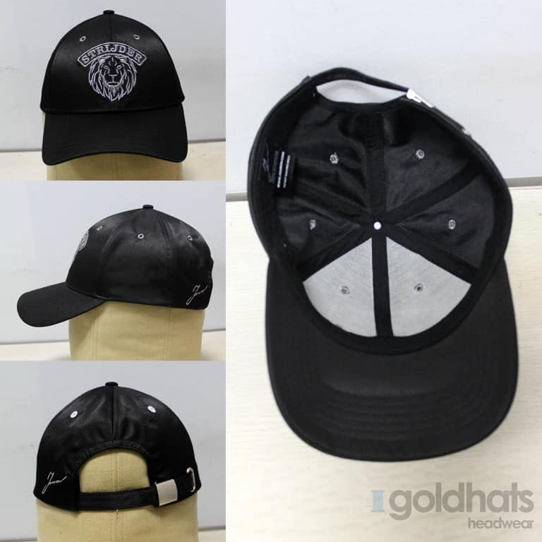 Satin embroidered cap
