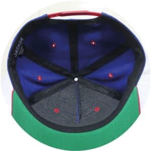 Bleu-red-and-green-snapback-5-panel-inside