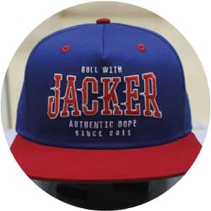 Blue-red-and-green-snapback-5-panel-front